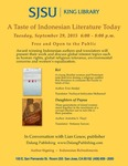 A Taste of Indonesian Literature Today by San Jose State University, Cultural Heritage Center