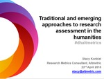 Traditional and emerging approaches to research assessment in the humanities by Stacy Konkiel
