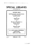 Special Libraries, February 1932 by Special Libraries Association