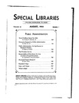 Special Libraries, August 1933 by Special Libraries Association