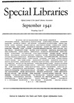 Special Libraries, September 1941